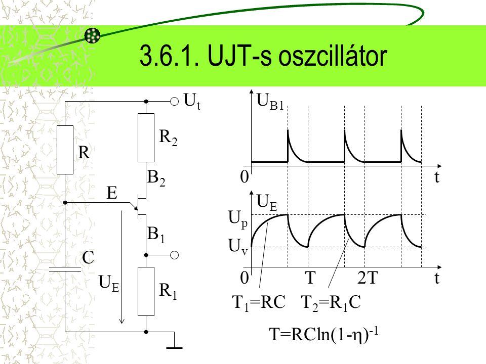 3.6.1. UJT-s oszcillátor UtUt B2B2 B1B1 E R2R2 R1R1 UEUE U B1 0t UEUE 0t UpUp UvUv T2T T=RCln(1-  ) -1 R C T 1 =RC T 2 =R 1 C