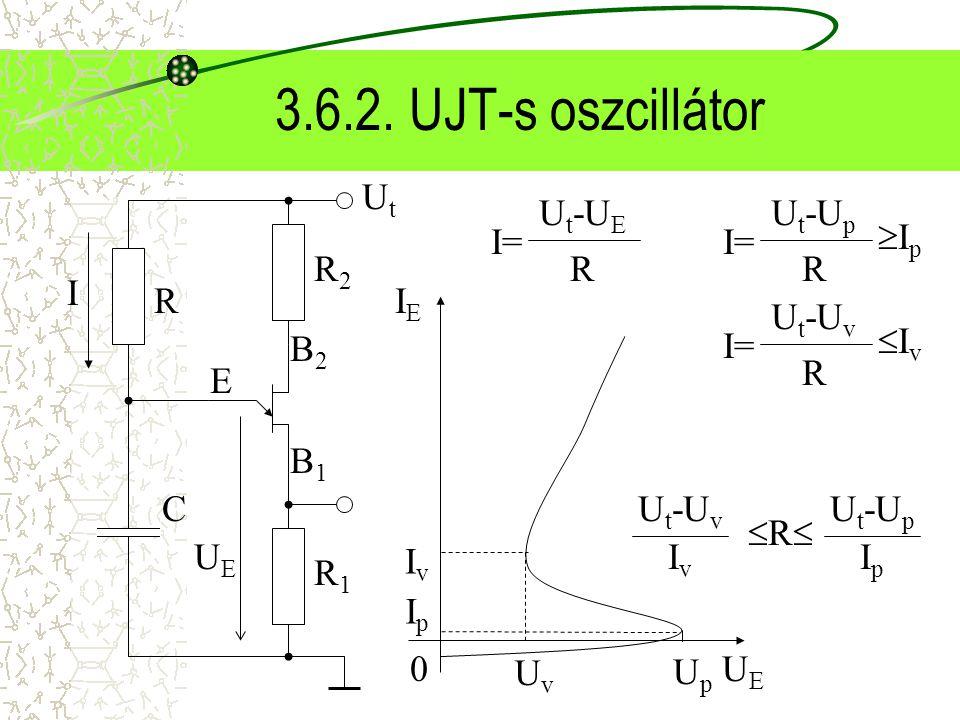 3.6.2. UJT-s oszcillátor UtUt B2B2 B1B1 E R2R2 R1R1 UEUE R C RR U t -U v IvIv U t -U p IpIp UpUp UvUv 0UEUE IEIE IpIp IvIv I I= U t -U E R I= U t