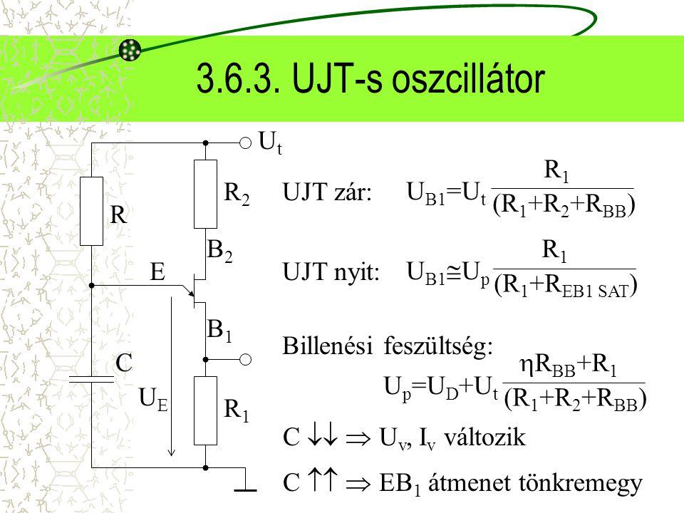 3.6.3. UJT-s oszcillátor UtUt B2B2 B1B1 E R2R2 R1R1 UEUE R C UJT zár: U B1 =U t R1R1 (R 1 +R 2 +R BB ) UJT nyit: U B1  U p R1R1 (R 1 +R EB1 SAT ) Bil