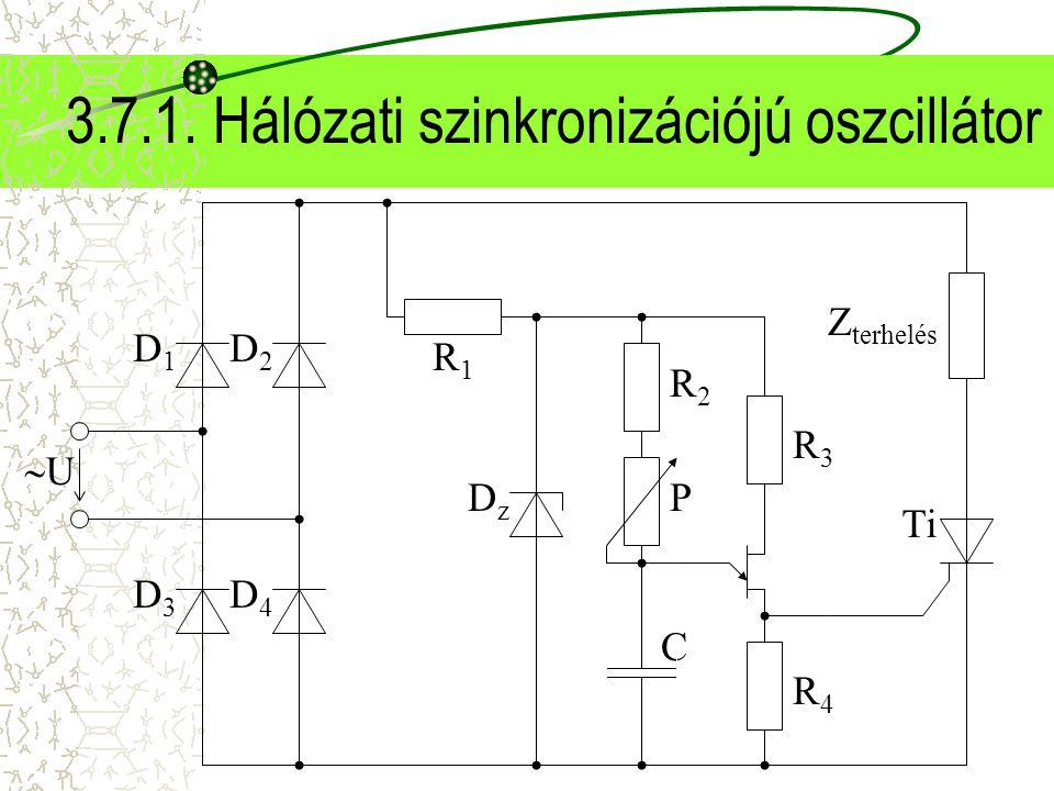 3.7.1. Hálózati szinkronizációjú oszcillátor R3R3 R4R4 R2R2 C P UU D1D1 D2D2 D3D3 D4D4 DzDz R1R1 Ti Z terhelés