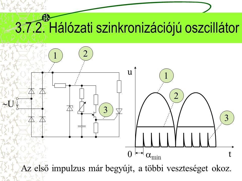 3.7.2. Hálózati szinkronizációjú oszcillátor UU t u 0 1 1 2 2 3 3  min Az első impulzus már begyújt, a többi veszteséget okoz.