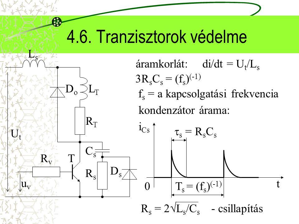 4.6. Tranzisztorok védelme di/dt = U t /L s áramkorlát: RTRT UtUt RvRv T RsRs LTLT CsCs DsDs uvuv LsLs DoDo 3R s C s = (f s ) (-1) f s = a kapcsolgatá