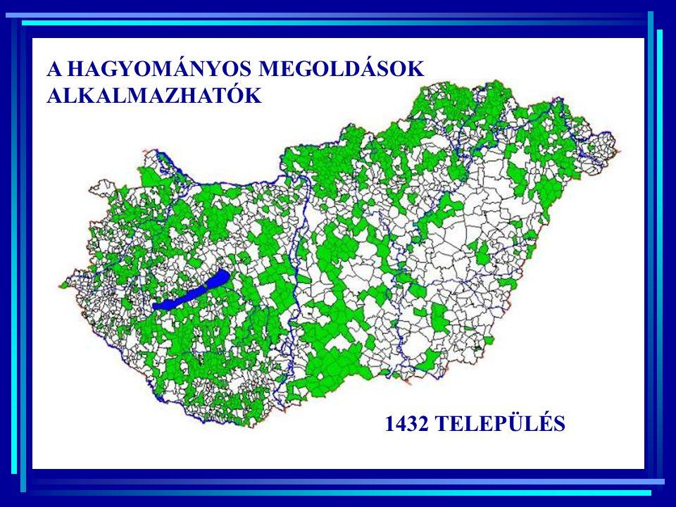 Átlagos laksűrűség településenként < 2 m 2-4 m 4-6 m 6-8 m > 8 m Átlagos talajvízszint a terep alatti mélysége (1991-95)