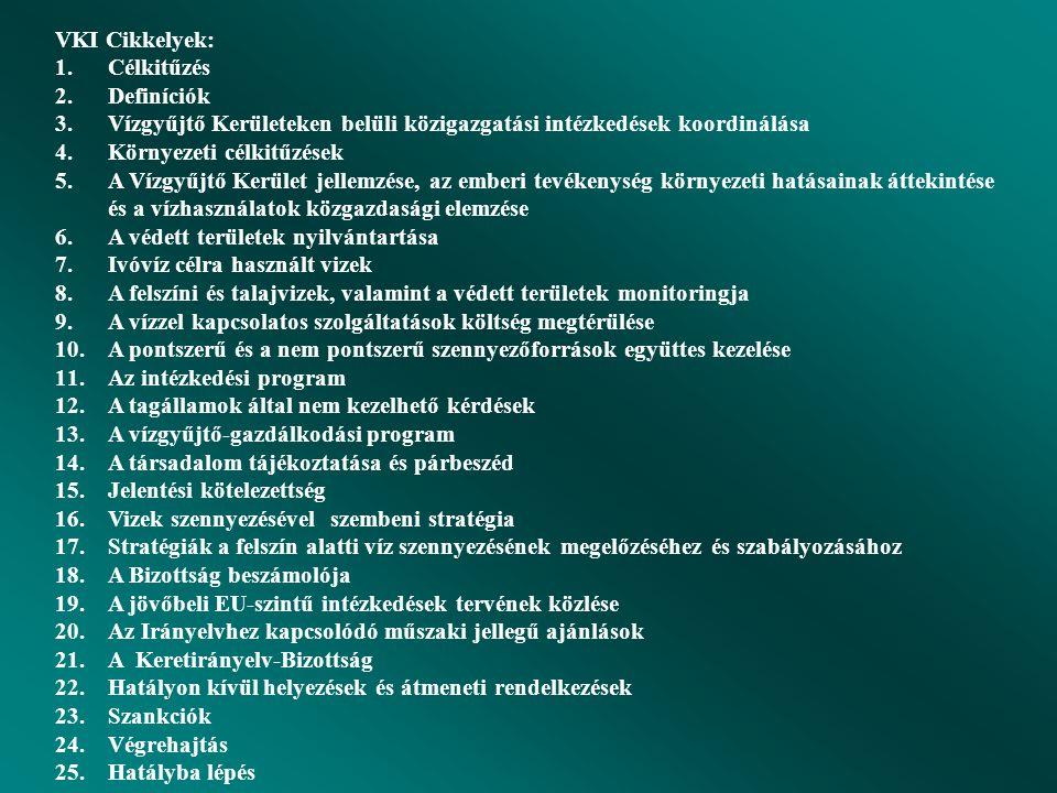 Víz keretirányelv (Water Framework Directive) 2000/60/EC  Integráló szemlélet  Vízgyűjtő elv  Fogalmi meghatározások (vízgyűjtő, részvízgyűjtő, víz