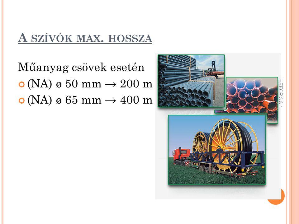 A SZÍVÓK MAX. HOSSZA Műanyag csövek esetén (NA) ø 50 mm → 200 m (NA) ø 65 mm → 400 m HEFOP 3.3.1.