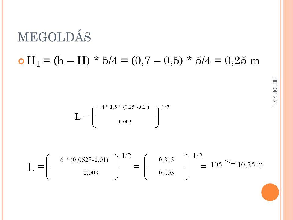 MEGOLDÁS H 1 = (h – H) * 5/4 = (0,7 – 0,5) * 5/4 = 0,25 m HEFOP 3.3.1.