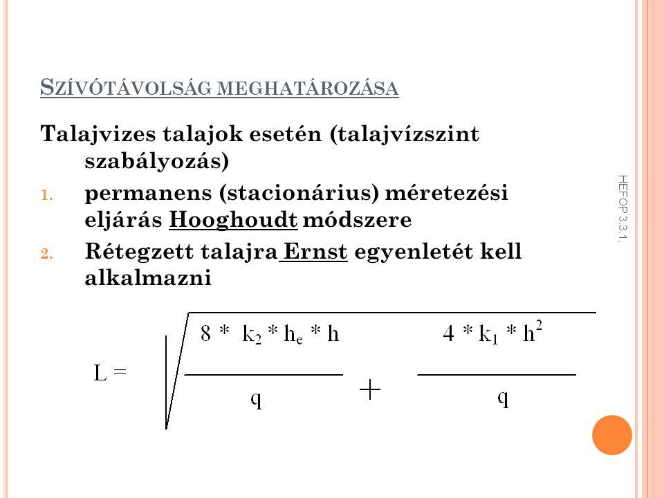 S ZÍVÓTÁVOLSÁG MEGHATÁROZÁSA Talajvizes talajok esetén (talajvízszint szabályozás) 1. permanens (stacionárius) méretezési eljárás Hooghoudt módszere 2