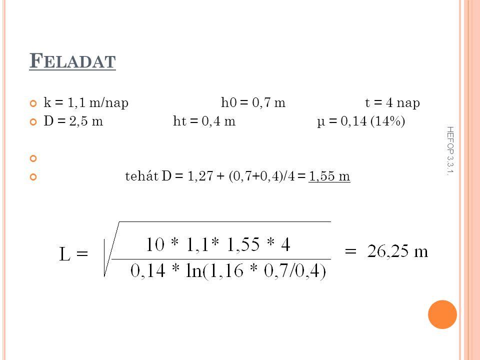 F ELADAT k = 1,1 m/naph0 = 0,7 mt = 4 nap D = 2,5 mht = 0,4 mμ = 0,14 (14%) tehát D = 1,27 + (0,7+0,4)/4 = 1,55 m HEFOP 3.3.1.