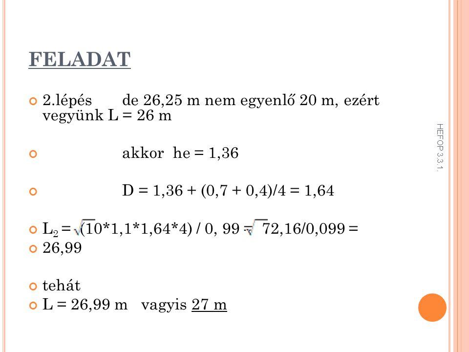 FELADAT 2.lépés de 26,25 m nem egyenlő 20 m, ezért vegyünk L = 26 m akkor he = 1,36 D = 1,36 + (0,7 + 0,4)/4 = 1,64 L 2 = (10*1,1*1,64*4) / 0, 99 = 72,16/0,099 = 26,99 tehát L = 26,99 m vagyis 27 m HEFOP 3.3.1.