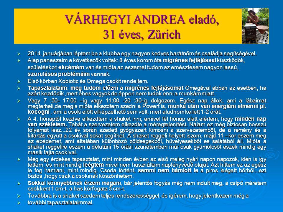 VÁRHEGYI ANDREA eladó, 31 éves, Zürich  2014. januárjában léptem be a klubba egy nagyon kedves barátnőm és családja segítségével.  Alap panaszaim a