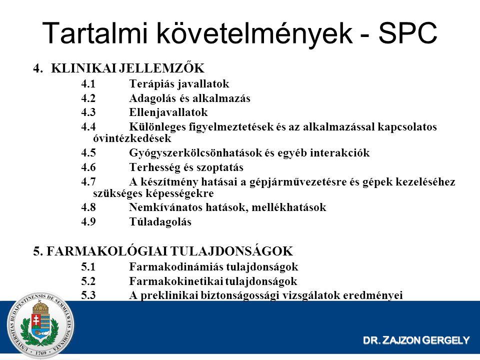 DR. Z AJZON G ERGELY 4.KLINIKAI JELLEMZŐK 4.1Terápiás javallatok 4.2Adagolás és alkalmazás 4.3Ellenjavallatok 4.4Különleges figyelmeztetések és az alk