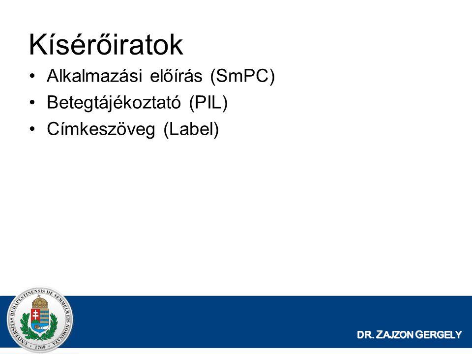 DR. Z AJZON G ERGELY Kísérőiratok Alkalmazási előírás (SmPC) Betegtájékoztató (PIL) Címkeszöveg (Label)