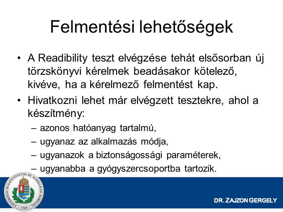 DR. Z AJZON G ERGELY Felmentési lehetőségek A Readibility teszt elvégzése tehát elsősorban új törzskönyvi kérelmek beadásakor kötelező, kivéve, ha a k