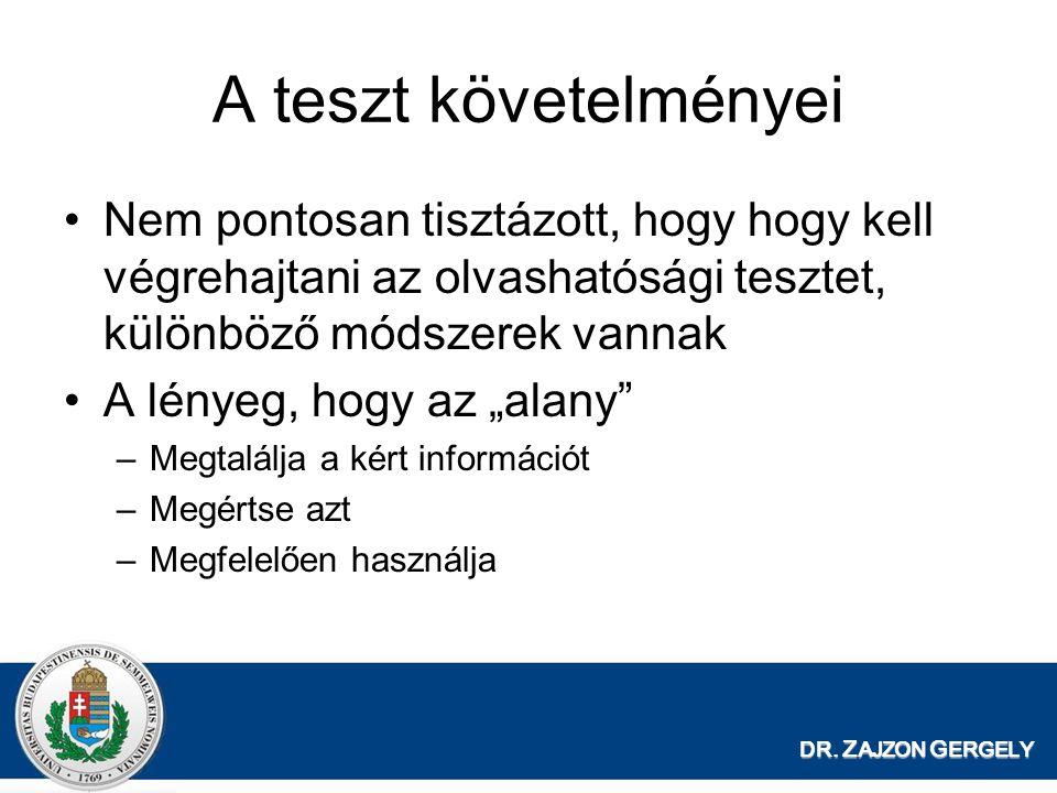 DR. Z AJZON G ERGELY A teszt követelményei Nem pontosan tisztázott, hogy hogy kell végrehajtani az olvashatósági tesztet, különböző módszerek vannak A