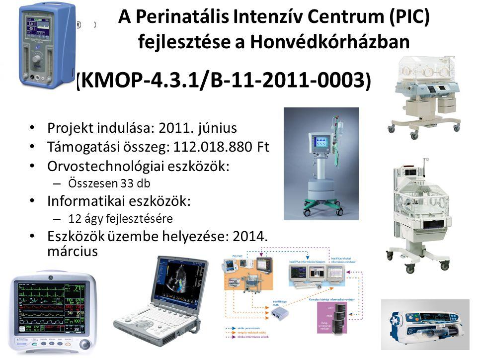 A Perinatális Intenzív Centrum (PIC) fejlesztése a Honvédkórházban Projekt indulása: 2011.