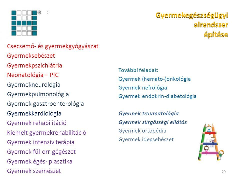 Csecsemő- és gyermekgyógyászat Gyermeksebészet Gyermekpszichiátria Neonatológia – PIC Gyermekneurológia Gyermekpulmonológia Gyermek gasztroenterológia Gyermekkardiológia Gyermek rehabilitáció Kiemelt gyermekrehabilitáció Gyermek intenzív terápia Gyermek fül-orr-gégészet Gyermek égés- plasztika Gyermek szemészet 29 További feladat: Gyermek (hemato-)onkológia Gyermek nefrológia Gyermek endokrin-diabetológia Gyermek traumatológia Gyermek sürgősségi ellátás Gyermek ortopédia Gyermek idegsebészet Gyermekegészségügyi alrendszer építése