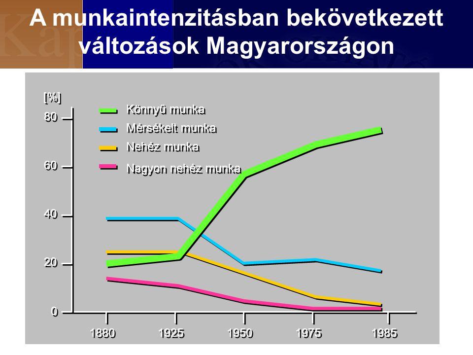 A munkaintenzitásban bekövetkezett változások Magyarországon 0 0 20 40 60 80 1880 1925 1950 1975 1985 Könnyű munka Mérsékelt munka Nehéz munka Nagyon nehéz munka [%]