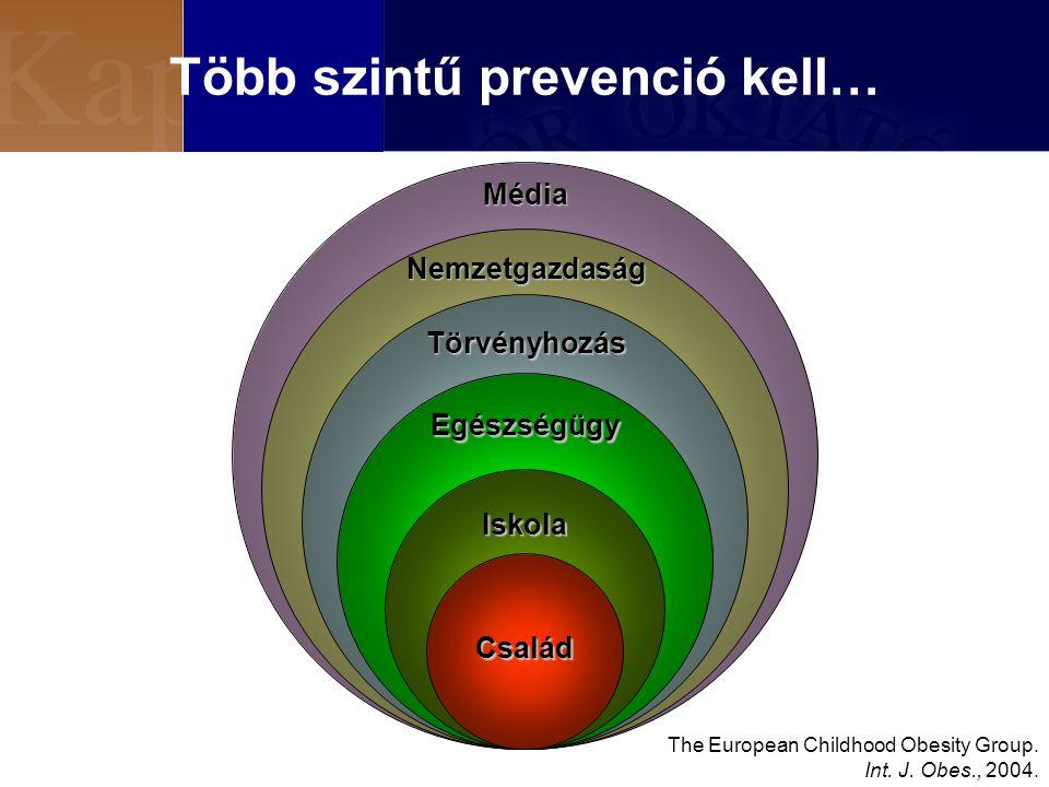 Több szintű prevenció kell… Törvényhozás Egészségügy Iskola The European Childhood Obesity Group.