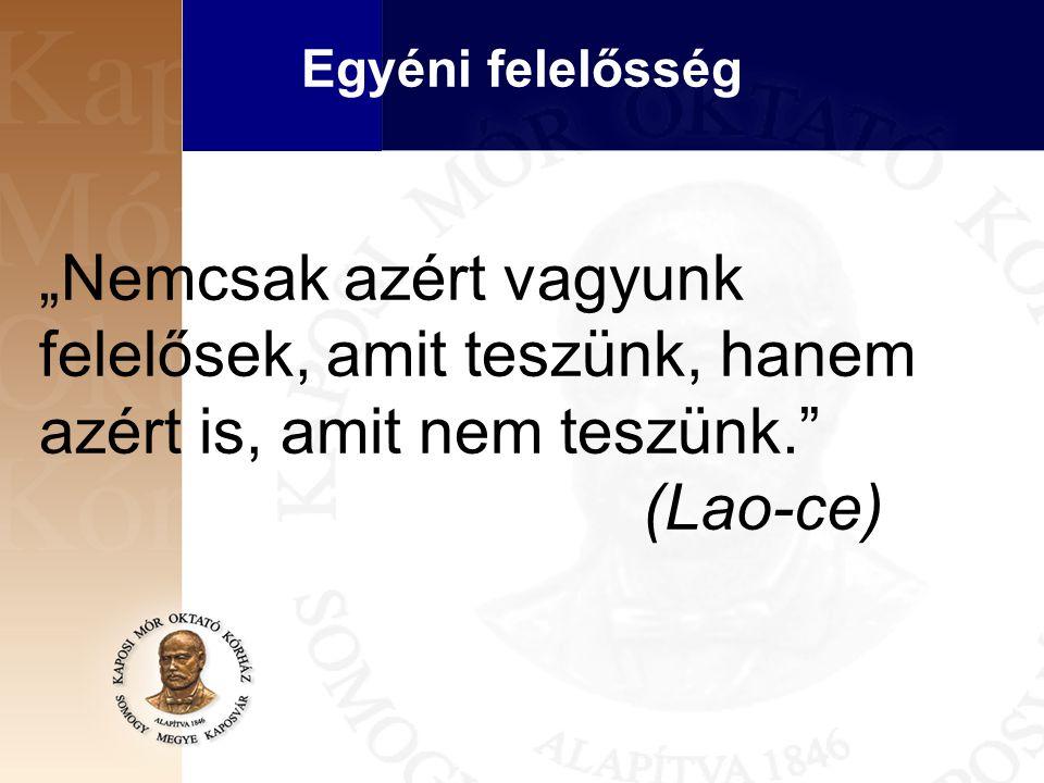 """""""Nemcsak azért vagyunk felelősek, amit teszünk, hanem azért is, amit nem teszünk. (Lao-ce) Egyéni felelősség"""