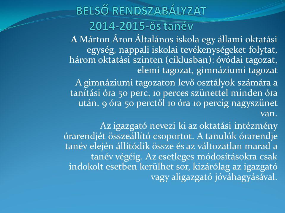 A Márton Áron Általános iskola egy állami oktatási egység, nappali iskolai tevékenységeket folytat, három oktatási szinten (ciklusban): óvódai tagozat