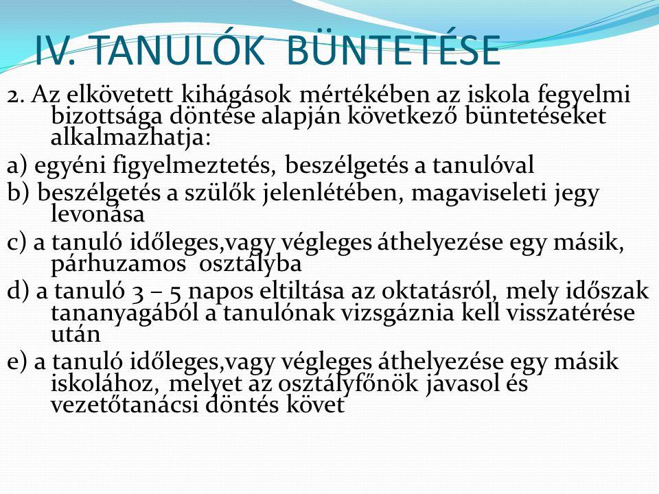 IV.TANULÓK BÜNTETÉSE 2.