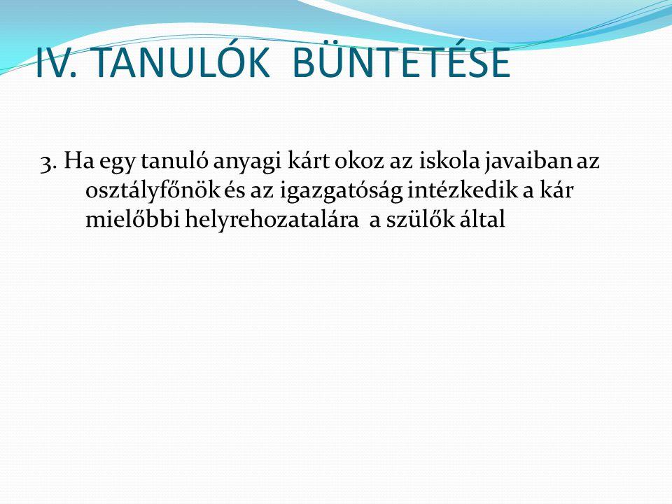 IV.TANULÓK BÜNTETÉSE 3.