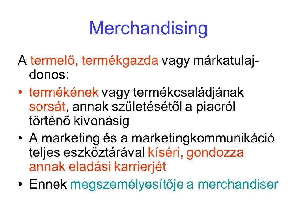 Merchandising A termelő, termékgazda vagy márkatulaj- donos: termékének vagy termékcsaládjának sorsát, annak születésétől a piacról történő kivonásig