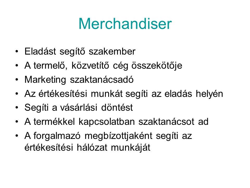 Merchandiser Eladást segítő szakember A termelő, közvetítő cég összekötője Marketing szaktanácsadó Az értékesítési munkát segíti az eladás helyén Segí