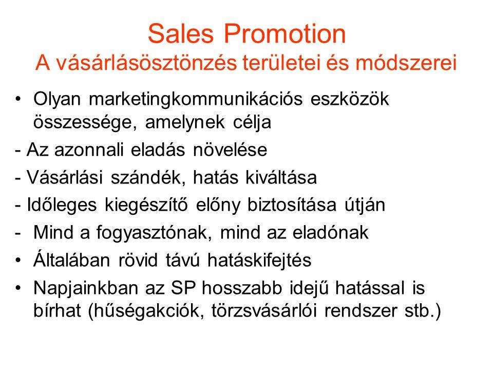 Sales Promotion A vásárlásösztönzés területei és módszerei Olyan marketingkommunikációs eszközök összessége, amelynek célja - Az azonnali eladás növel