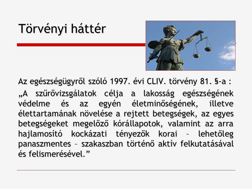 """Törvényi háttér Az egészségügyről szóló 1997. évi CLIV. törvény 81. §-a : """"A szűrővizsgálatok célja a lakosság egészségének védelme és az egyén életmi"""