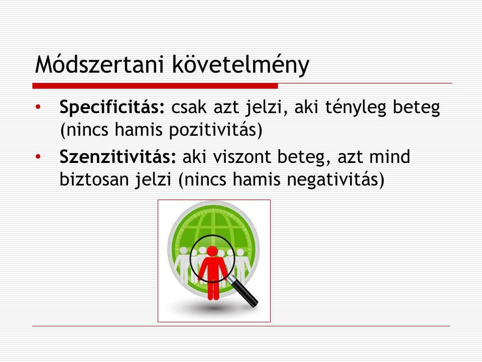 Módszertani követelmény Specificitás: csak azt jelzi, aki tényleg beteg (nincs hamis pozitivitás) Szenzitivitás: aki viszont beteg, azt mind biztosan