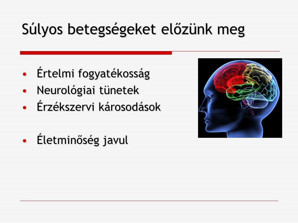 Súlyos betegségeket előzünk meg Értelmi fogyatékosságÉrtelmi fogyatékosság Neurológiai tünetekNeurológiai tünetek Érzékszervi károsodásokÉrzékszervi k