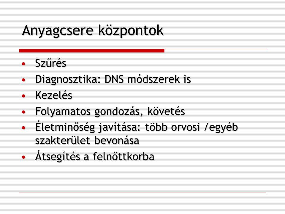 Anyagcsere központok SzűrésSzűrés Diagnosztika: DNS módszerek isDiagnosztika: DNS módszerek is KezelésKezelés Folyamatos gondozás, követésFolyamatos g