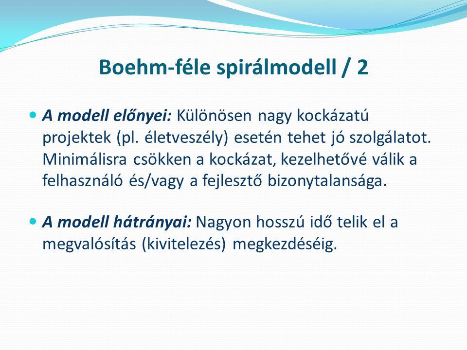 Boehm-féle spirálmodell / 2 A modell előnyei: Különösen nagy kockázatú projektek (pl.