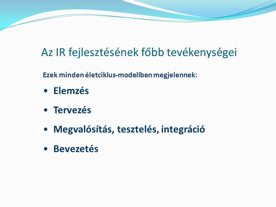 Az IR fejlesztésének főbb tevékenységei Ezek minden életciklus-modellben megjelennek: Elemzés Tervezés Megvalósítás, tesztelés, integráció Bevezetés