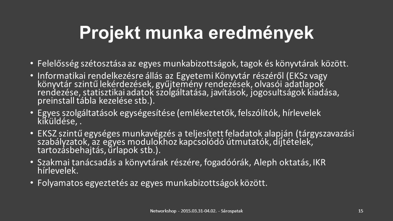 Projekt munka eredmények Felelősség szétosztása az egyes munkabizottságok, tagok és könyvtárak között. Informatikai rendelkezésre állás az Egyetemi Kö