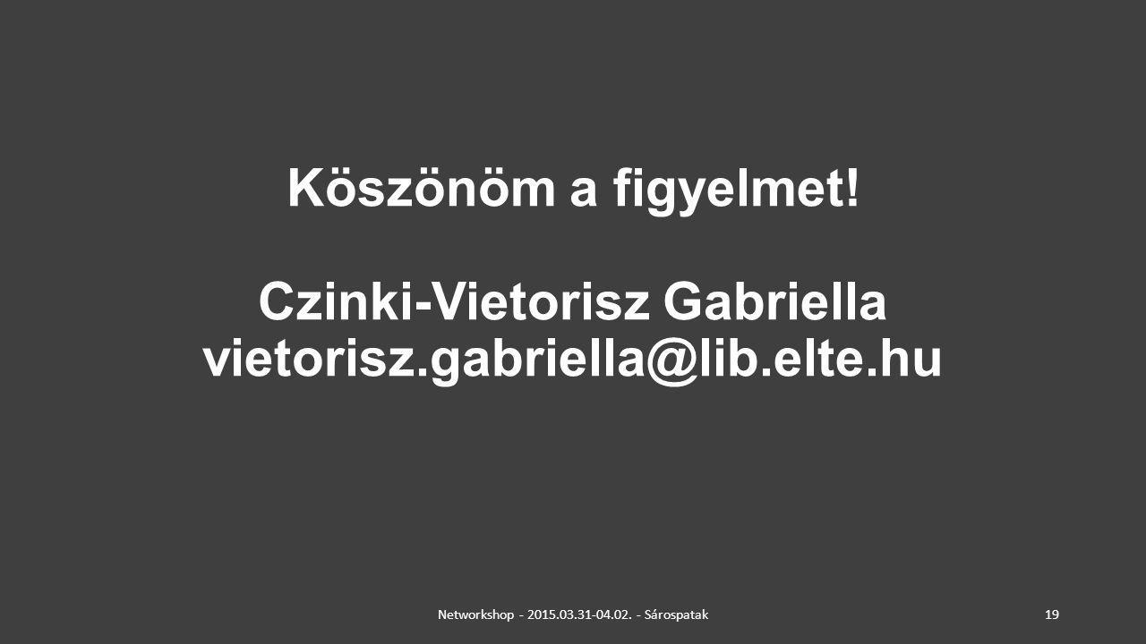Köszönöm a figyelmet! Czinki-Vietorisz Gabriella vietorisz.gabriella@lib.elte.hu Networkshop - 2015.03.31-04.02. - Sárospatak19