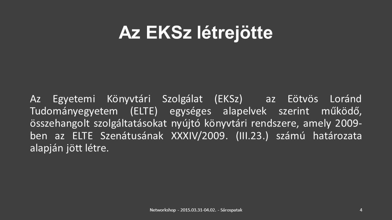 Az EKSz létrejötte Az Egyetemi Könyvtári Szolgálat (EKSz) az Eötvös Loránd Tudományegyetem (ELTE) egységes alapelvek szerint működő, összehangolt szol