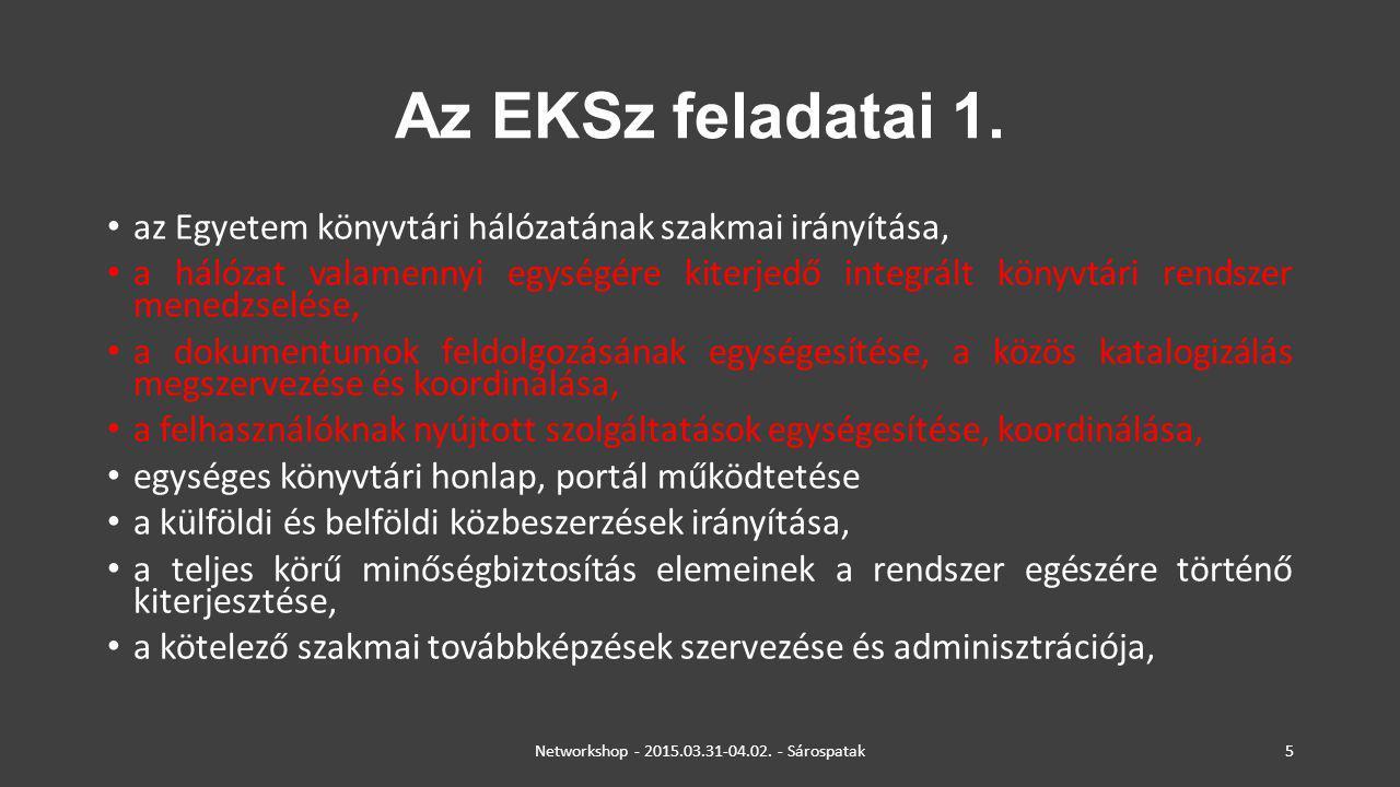 Az EKSz feladatai 2.