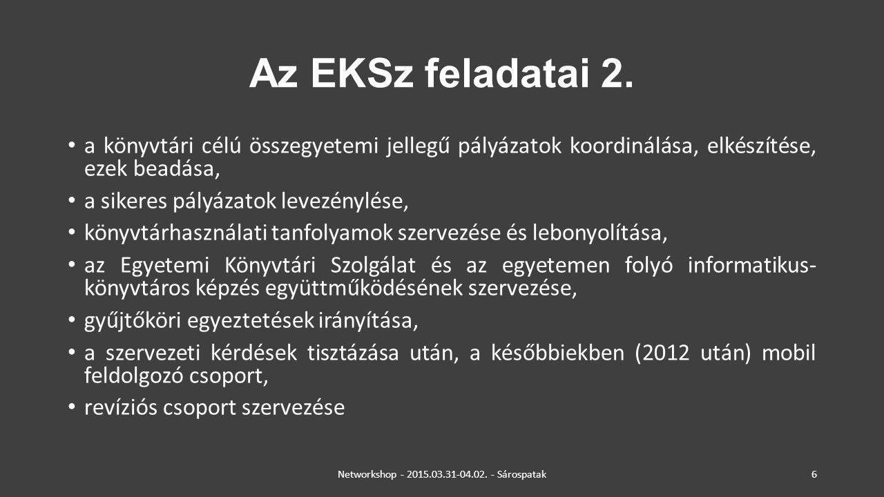 Az EKSz feladatai 2. a könyvtári célú összegyetemi jellegű pályázatok koordinálása, elkészítése, ezek beadása, a sikeres pályázatok levezénylése, köny