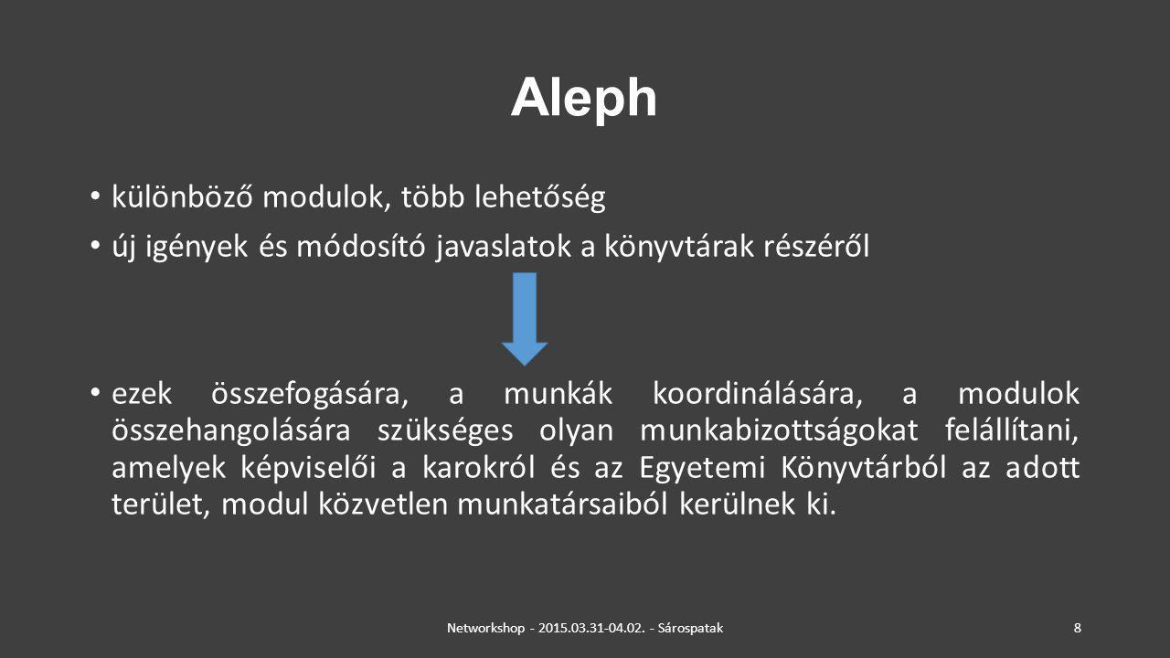 Aleph különböző modulok, több lehetőség új igények és módosító javaslatok a könyvtárak részéről ezek összefogására, a munkák koordinálására, a modulok
