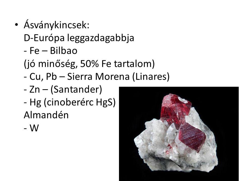 Ásványkincsek: D-Európa leggazdagabbja - Fe – Bilbao (jó minőség, 50% Fe tartalom) - Cu, Pb – Sierra Morena (Linares) - Zn – (Santander) - Hg (cinoberérc HgS) Almandén - W