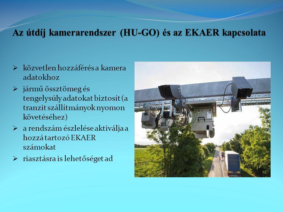  közvetlen hozzáférés a kamera adatokhoz  jármű össztömeg és tengelysúly adatokat biztosít (a tranzit szállítmányok nyomon követéséhez)  a rendszám