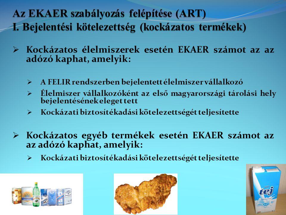 közúti fuvarozás EU más tagállama → Magyarország termékbeszerzés / egyéb célú behozatal Magyarország → EU más tagállama termékértékesítés / egyéb célú kivitel belföldi forgalomban - nem végfelhasználó részére - első adóköteles értékesítés kockázatos termék nem kockázatos termék kockázatos termék nem kockázatos termék kockázatos termék nem kockázatos termék útdíj- köteles súly vagy értékhatár felett B+KBBBB B súly és értékhatár alatt −−−−−− nem útdíj- köteles súly vagy értékhatár felett B+KB−B− − súly és értékhatár alatt −−−−−− B = bejelentés KB = kockázati biztosíték