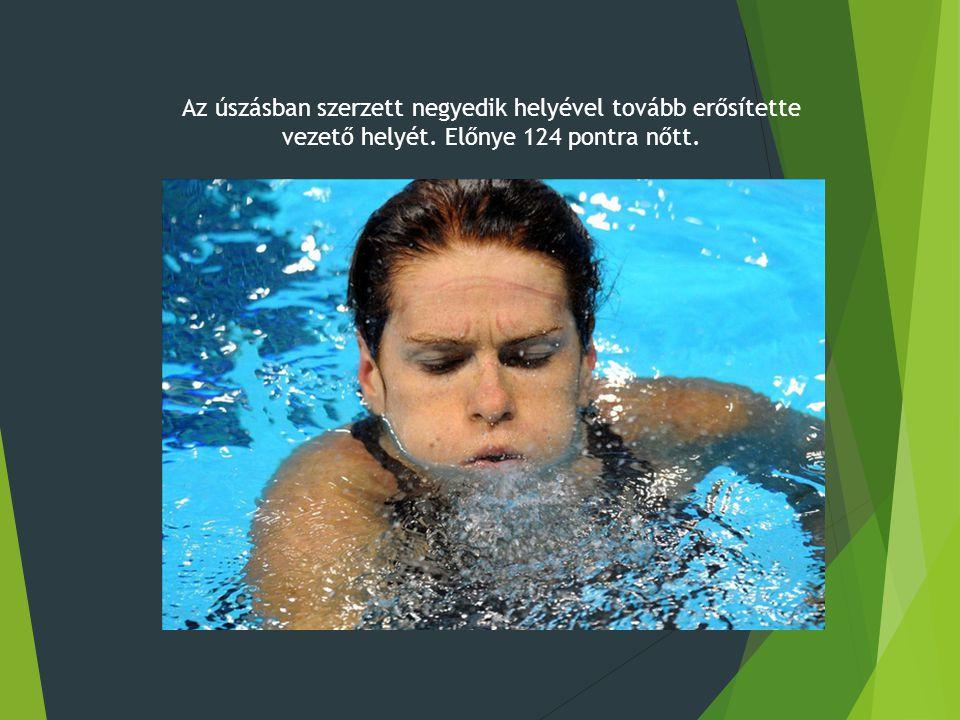 Az úszásban szerzett negyedik helyével tovább erősítette vezető helyét. Előnye 124 pontra nőtt.