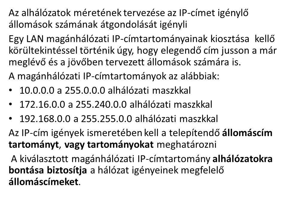 Az alhálózatok méretének tervezése az IP-címet igénylő állomások számának átgondolását igényli Egy LAN magánhálózati IP-címtartományainak kiosztása ke