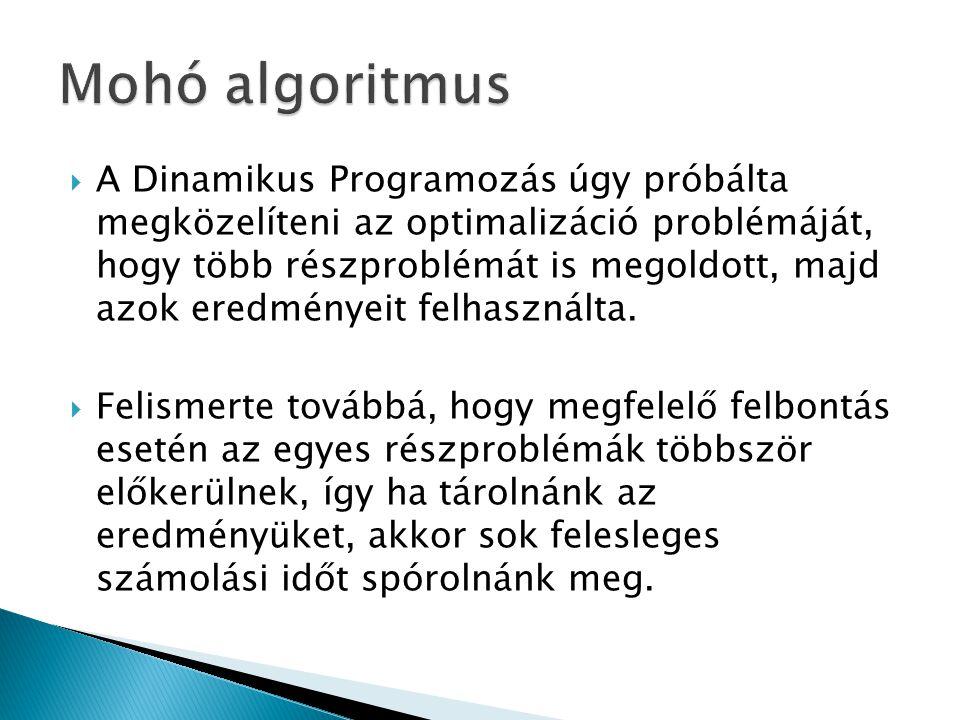  A Dinamikus Programozás úgy próbálta megközelíteni az optimalizáció problémáját, hogy több részproblémát is megoldott, majd azok eredményeit felhasz