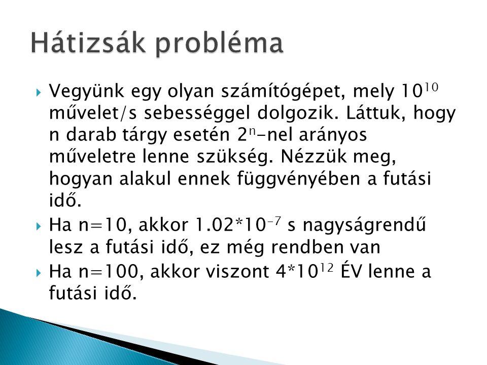  Alapgondolat: részproblémákra bontás oly módon, hogy a részproblémáknak közös részproblémáik legyenek  Az egyes részproblémák megoldásait táblázatos formában tároljuk, így mikor azok eredménye ismételten kelleni fog, nem kell újból kiszámolni.