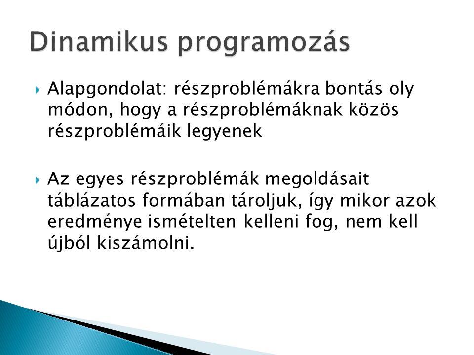  Alapgondolat: részproblémákra bontás oly módon, hogy a részproblémáknak közös részproblémáik legyenek  Az egyes részproblémák megoldásait táblázato