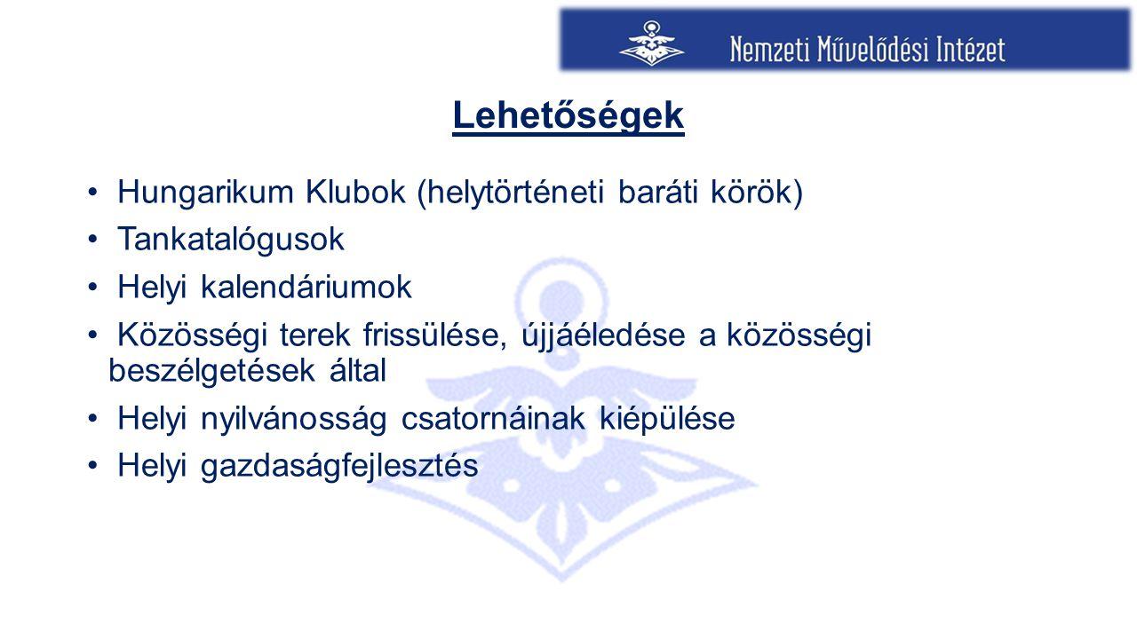 Lehetőségek Hungarikum Klubok (helytörténeti baráti körök) Tankatalógusok Helyi kalendáriumok Közösségi terek frissülése, újjáéledése a közösségi besz